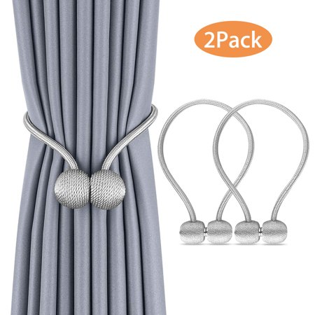 - (2-pack) EEEkit Magnetic Curtain Tiebacks, Elegant Pearl Ball Magnetic Buckle, Drape Holders Holdbacks Decorative Handmade Rope Clips