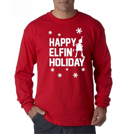 New Way 589 - Unisex Long-Sleeve T-Shirt Happy Elfin Holiday Christmas Elf Snowflakes