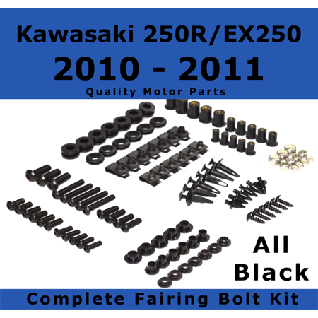 Complete Black Fairing Bolt Kit for Kawasaki Ninja 250R / EX250 2010 - 2011 body screws fasteners Stainless