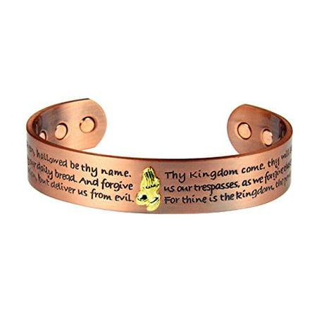 Solid Copper Magnetic Cuff Bracelet Bangle Lords Prayer Message Christian - Message Bracelets