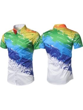 6a73d4f24 Product Image Men's T-Shirt Casual Summer Beach Party Holiday Short Sleeve  3D Splash-ink Paint