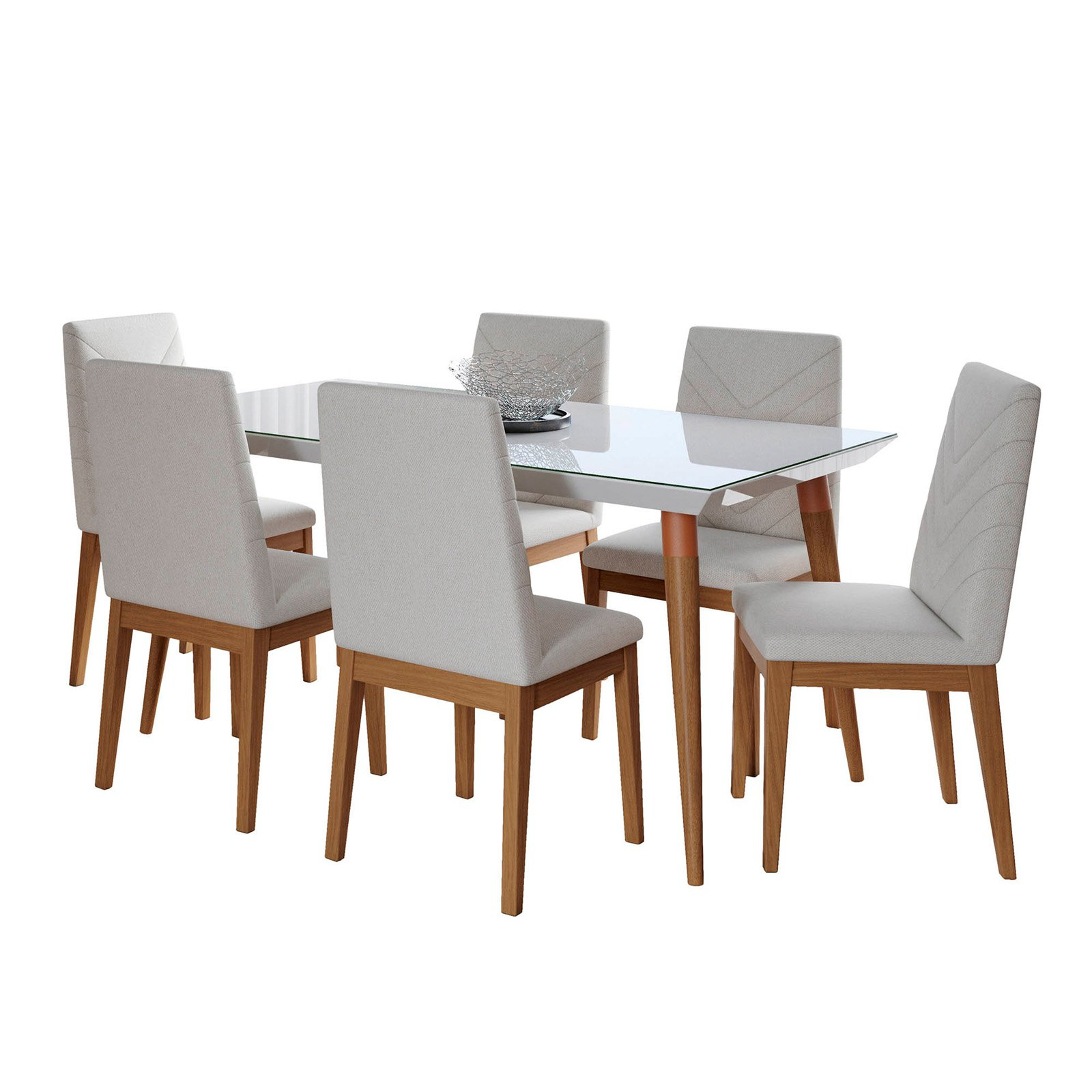 Manhattan Comfort Utopia and Catherine 7 Piece Dining Table Set