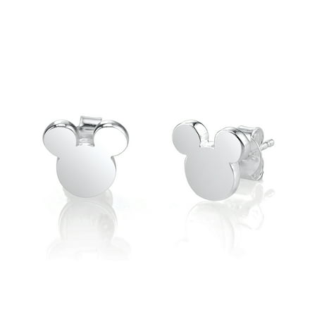 Sterling Silver Mickey Mouse Silhouette Post Stud Earrings ()
