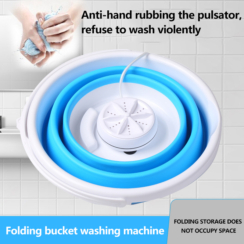 34oz Portable Mini Turbo Washing Machine with Foldable Tub Compact Ultrasonic Turbine Washer Lightweight Travel Laundry Washer USB Powered Camping Apartments Dorms RV Business Trip Clothes Blue