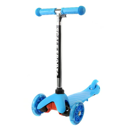 Adjustable Kids Push Kick Scooter with Light Up Wheels Blue ()