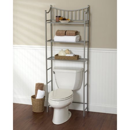metal spacesaver bath storage rack 3 shelf satin nickel - Over The Toilet Shelf