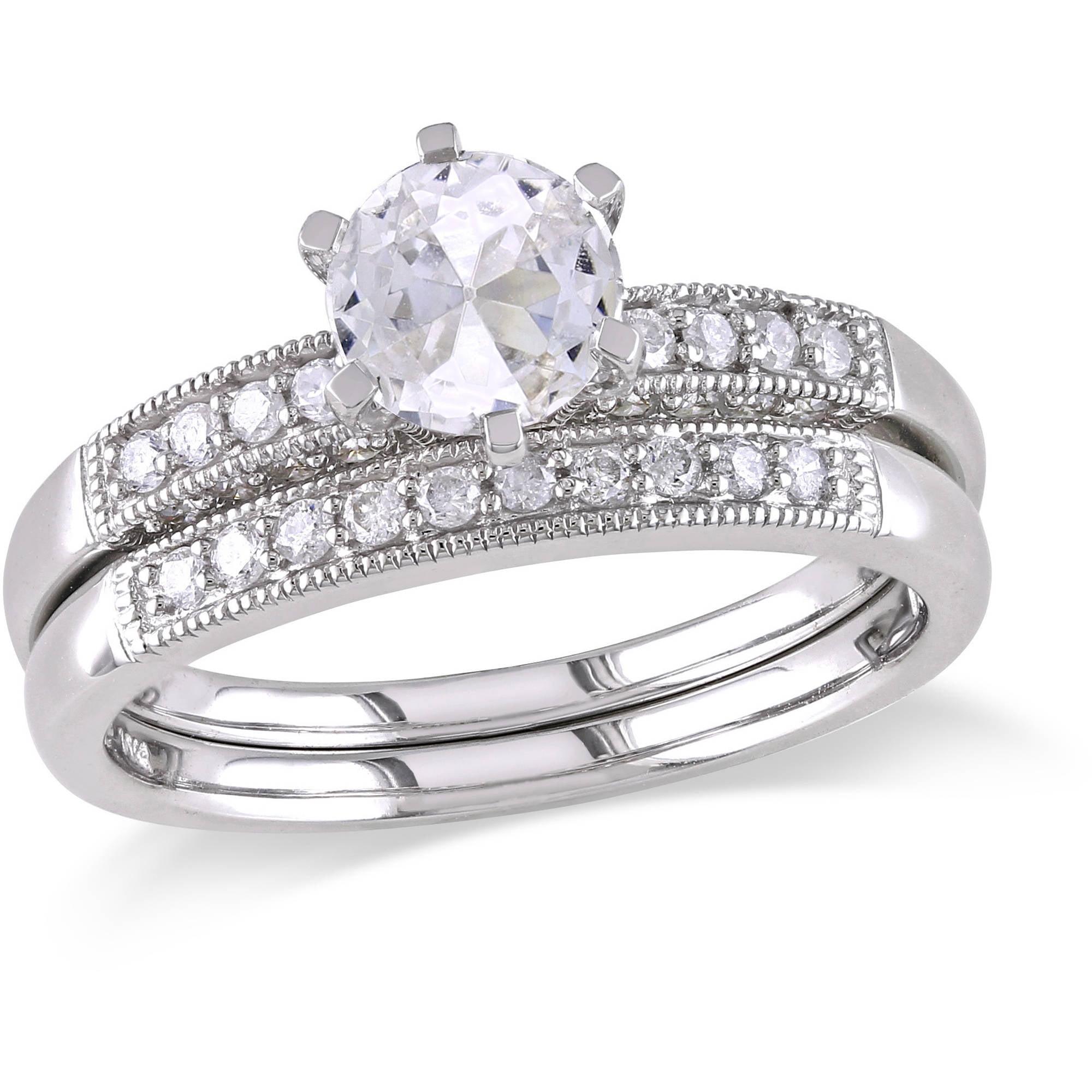 Miabella 1 Carat T.G.W. Created White Sapphire and 1 3 Carat T.W. Diamond 10kt White Gold Bridal Set by Generic