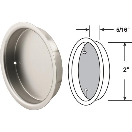Slide-Co 163919 Mortise Closet Door Pull, 5/16 in. Depth x 2 in. Outside Diameter, Solid Steel, Satin Nickel (Mortise Pull)
