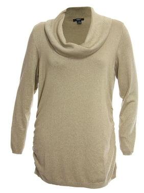 eb0df50ed3 Product Image Alfani Woman Plus Size Gold Sparkle Stretch Drape Cowl Neck  Sweater 2x