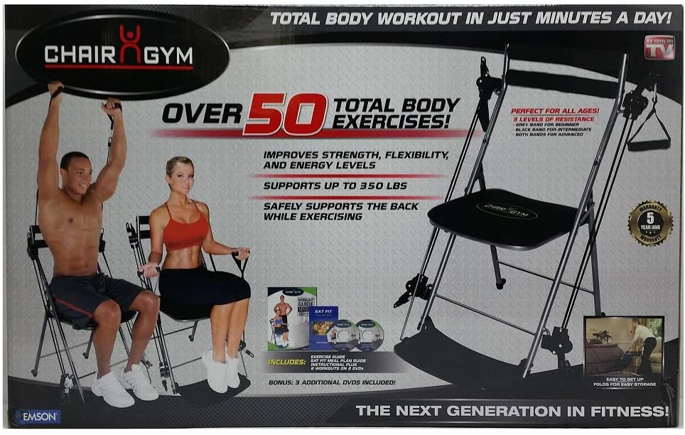RRP£125 Chair Gym Total Body Exercise System /& DVDs In  Red