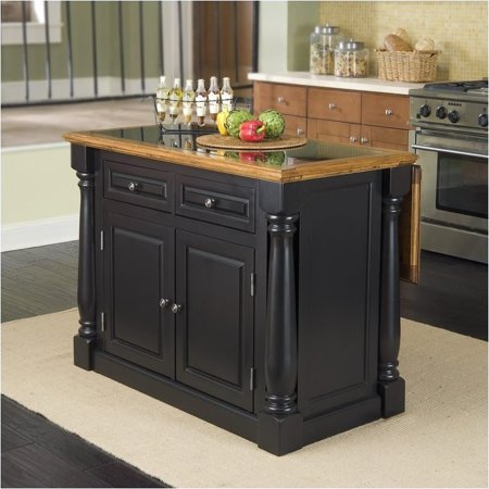 Bowery Hill Roll Out Leg Granite Top Kitchen Island in Black and (Island Leg Corbel)