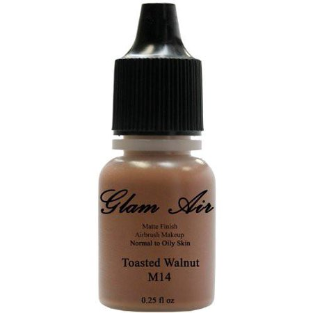Airbrush Makeup Foundation Matte Finish M14 Toasted Walnut Water-based Makeup Lasting All Day 0.25 Oz Bottle By Glam Air