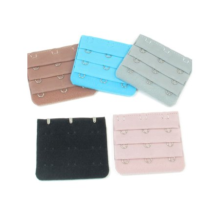 3 Rows Hook and Eye Tape Bra Strap Extender Cyan Black Rose Pink 5 Pcs for Lady