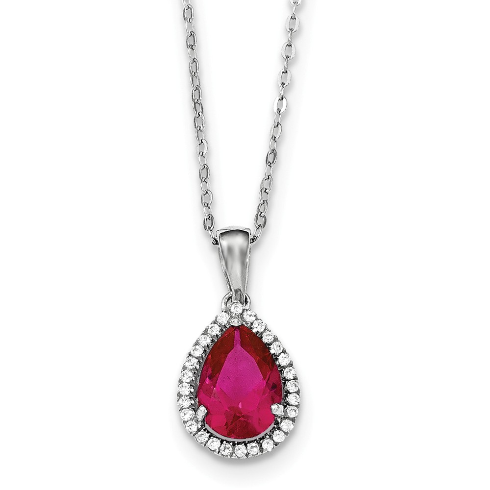 """Solid 925 Sterling Silver Polished Simulated Ruby & Cubic Zirconia Cubic Zirconia Necklace Chain 18"""" by AA Jewels"""