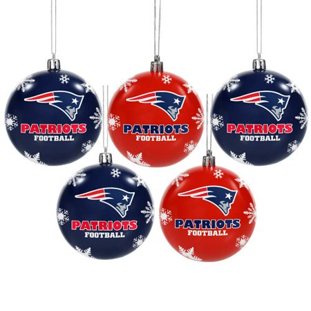 Nfl Ball Cap Ornament (Forever Collectibles NFL 5-Pack Shatterproof Ball Ornaments, New England)