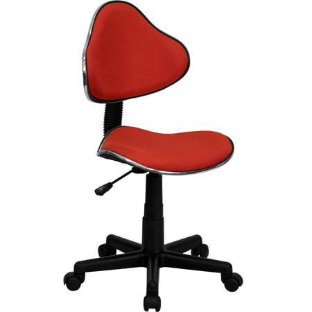 A Line Furniture Art Deco Black/Red Fabric/Metal Armless Adjustable Swivel Office Task