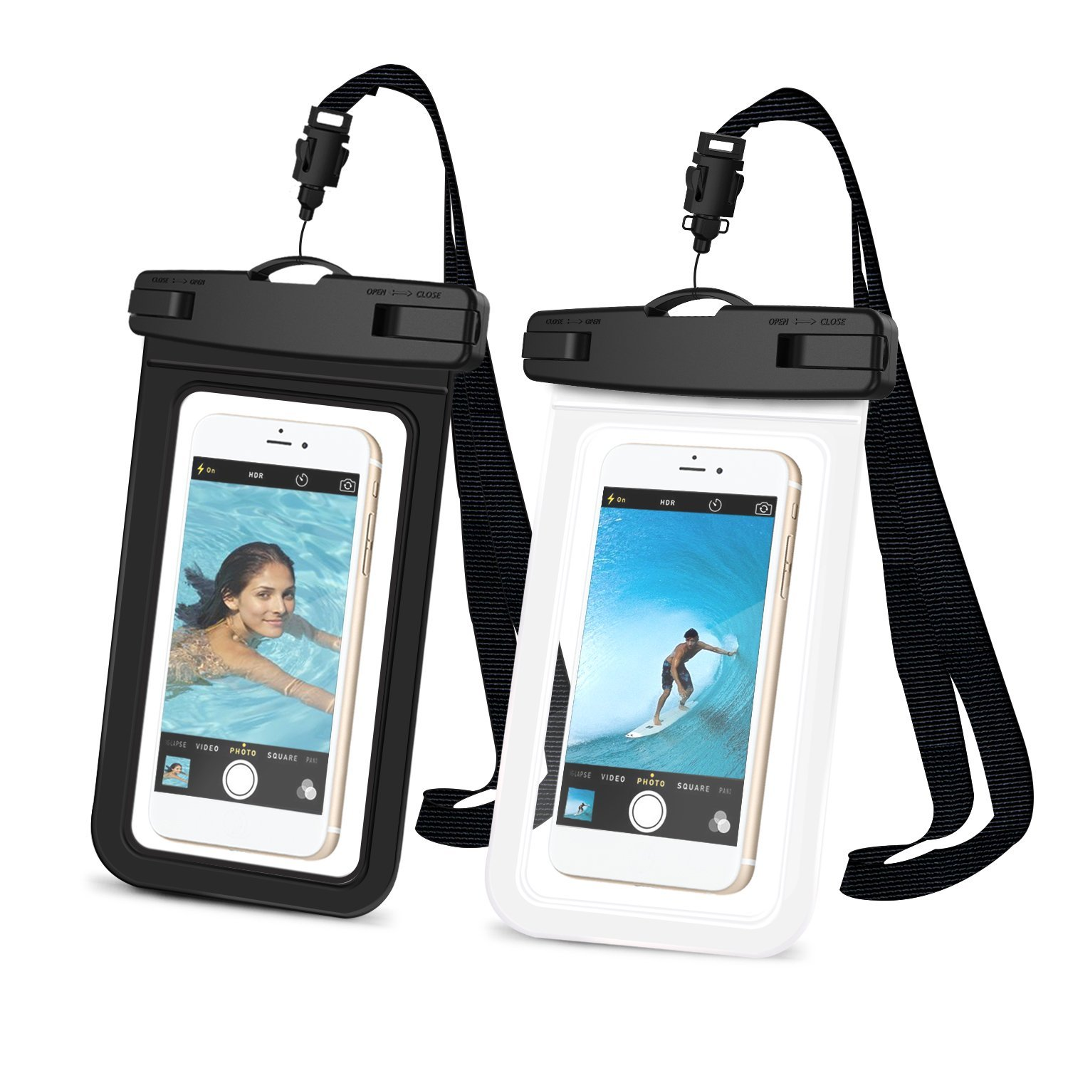 FYLINA 2 Pack Universal Waterproof Case Cellphone Dry Bag Pouch with Neck Strap Lanyard for iPhone 7 7 Plus 6 6s Plus SE 5s Samsung Galaxy S6 S7 edge S8 S8 Plus and Others
