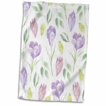 3dRose Pretty Watercolor Purple and Pink Tulips Pattern - Towel, 15 by 22-inch