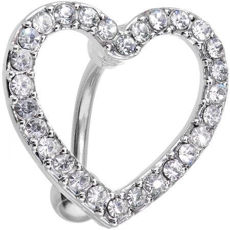 Gretsch Electromatic Hollow Body (Body Candy Stainless Steel Clear Bordered Hollow Heart Top Mount Belly Ring)