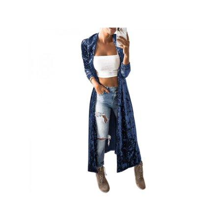 (Ropalia Women's Velvet Long Coat Jacket Trench Windbreaker Parka Casual Outwear Cardigan Fashion Coat Winter Autumn)