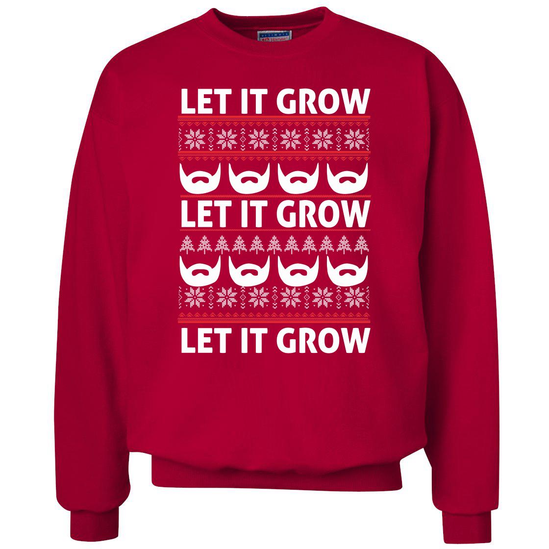 Ugly Christmas Sweater Beard Let It Grow Crewneck Sweatshirt