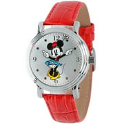 Minnie Mouse Women's Shinny Silver Vintage Articulating Alloy Case Watch, Red Leather Strap