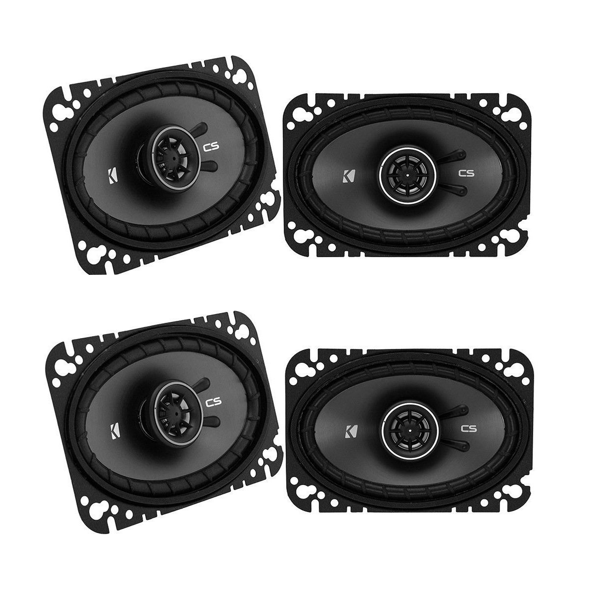 "Kicker CSC46 600W 4"" x 6"" 2-Way Coaxial Car Audio Speakers (2 Pair) 