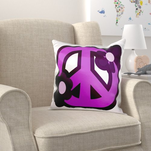 Zoomie Kids Brochu Peace Sign with Flowers Pillow Cover