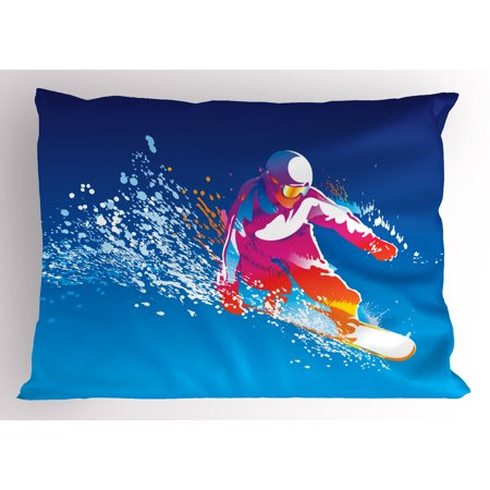 Standard Snowboarding - Youth Pillow Sham Colorful Figure of a Young Man Snowboarding on Blue Background with Paint Splashes, Decorative Standard King Size Printed Pillowcase, 36 X 20 Inches, Multicolor, by Ambesonne