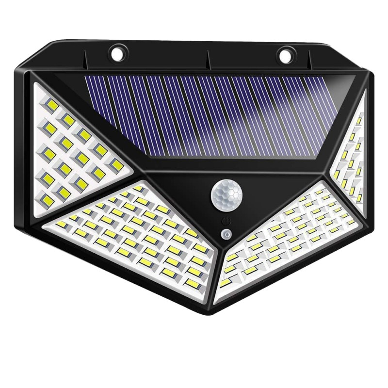 Details about  /US 100 LED Solar Powered Light Outdoor Garden Wall Yard Lamp 3 Light Modes