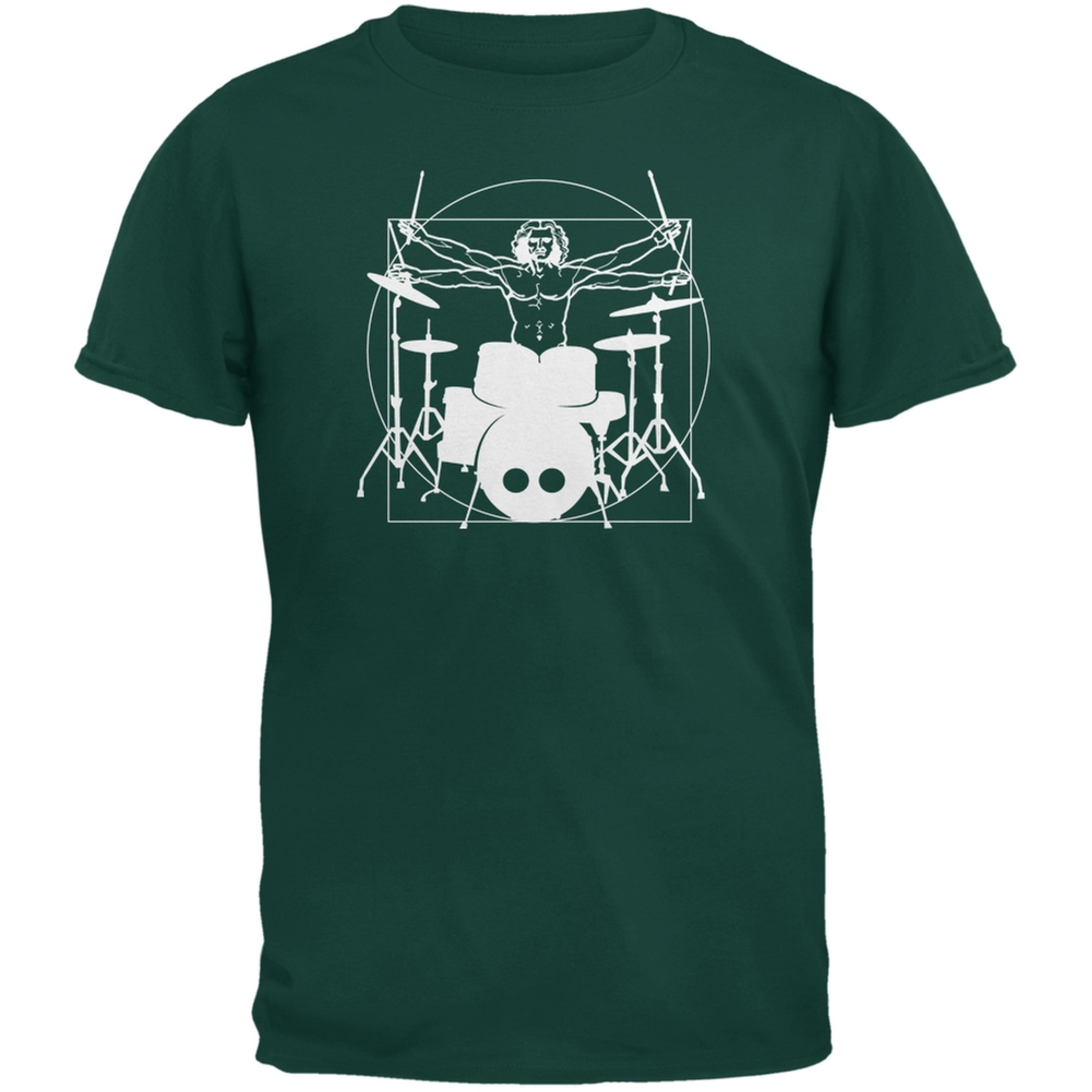 Vitruvian Man Drummer Forest Green Adult T-Shirt