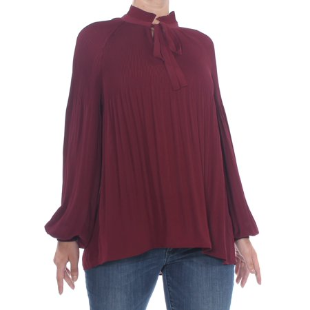 RALPH LAUREN Womens Maroon Pleated Cuffed Tie Neck Blouse Top Size: S