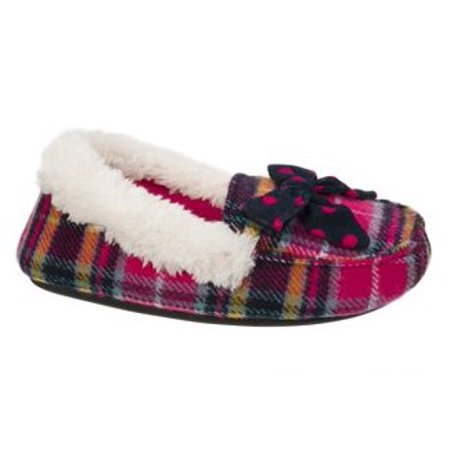 Dearfoams Girl's Plaid Moccasin with Polka Dot Bow Slippers](Kids Moccasins)