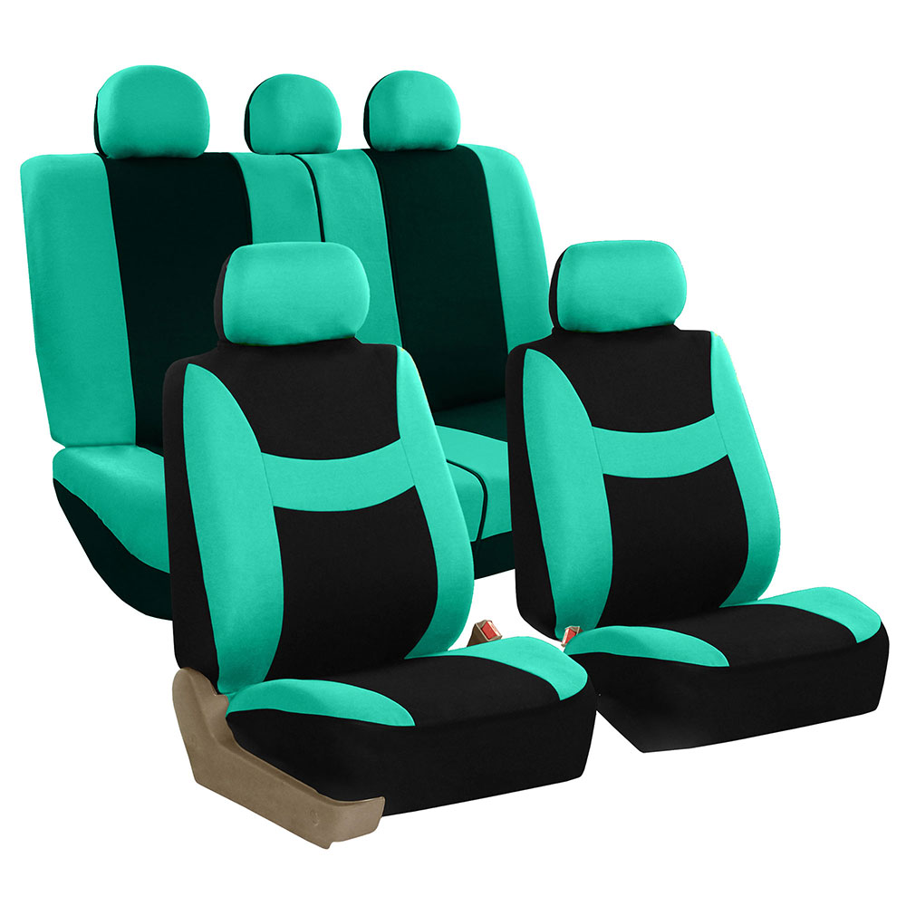 FH Group Light & Breezy Mint and Black Airbag Compatible and Split Bench Full Set Seat Covers