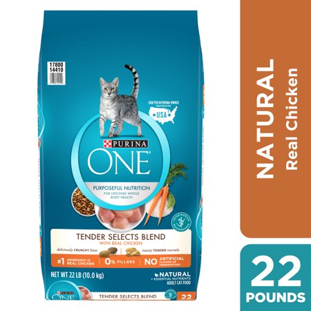 Purina One Tender Selects with Real Chicken Natural Dry Cat Food, 22