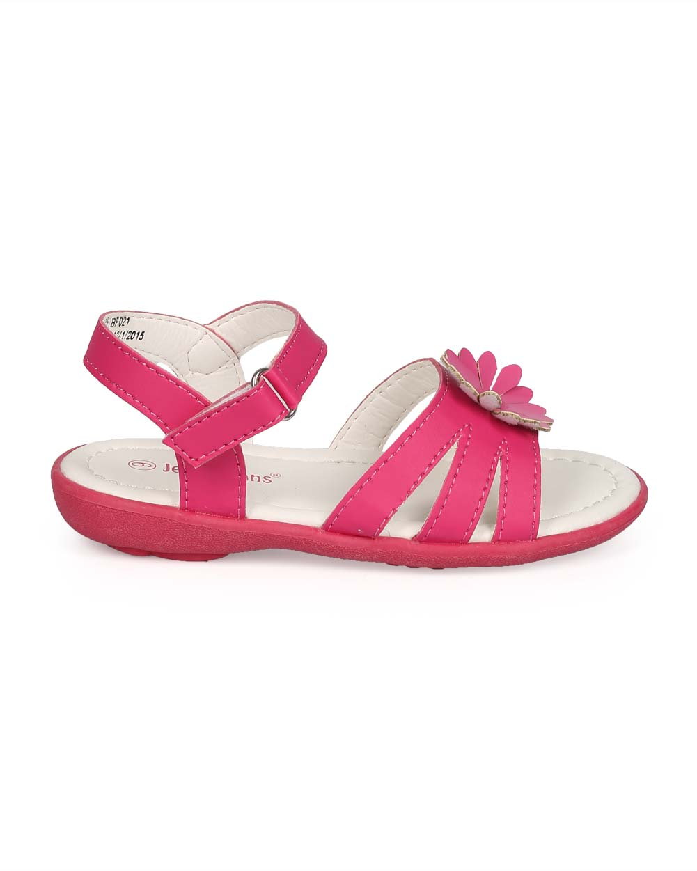 New Girl EC15 Leatherette Open Toe Flower hook and loop Sandal Size Size 6-11