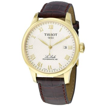 Tissot Powermatic 80 Silver Dial Brown Leather Strap Men's Watch