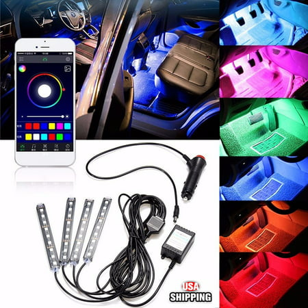 DC12V 5050 4IN1 36 LED Color Changing RGB Car Interior Decorative Floor A-tmosphere Strip Lamp Light Car Charger APP Controlled Sound Control ()