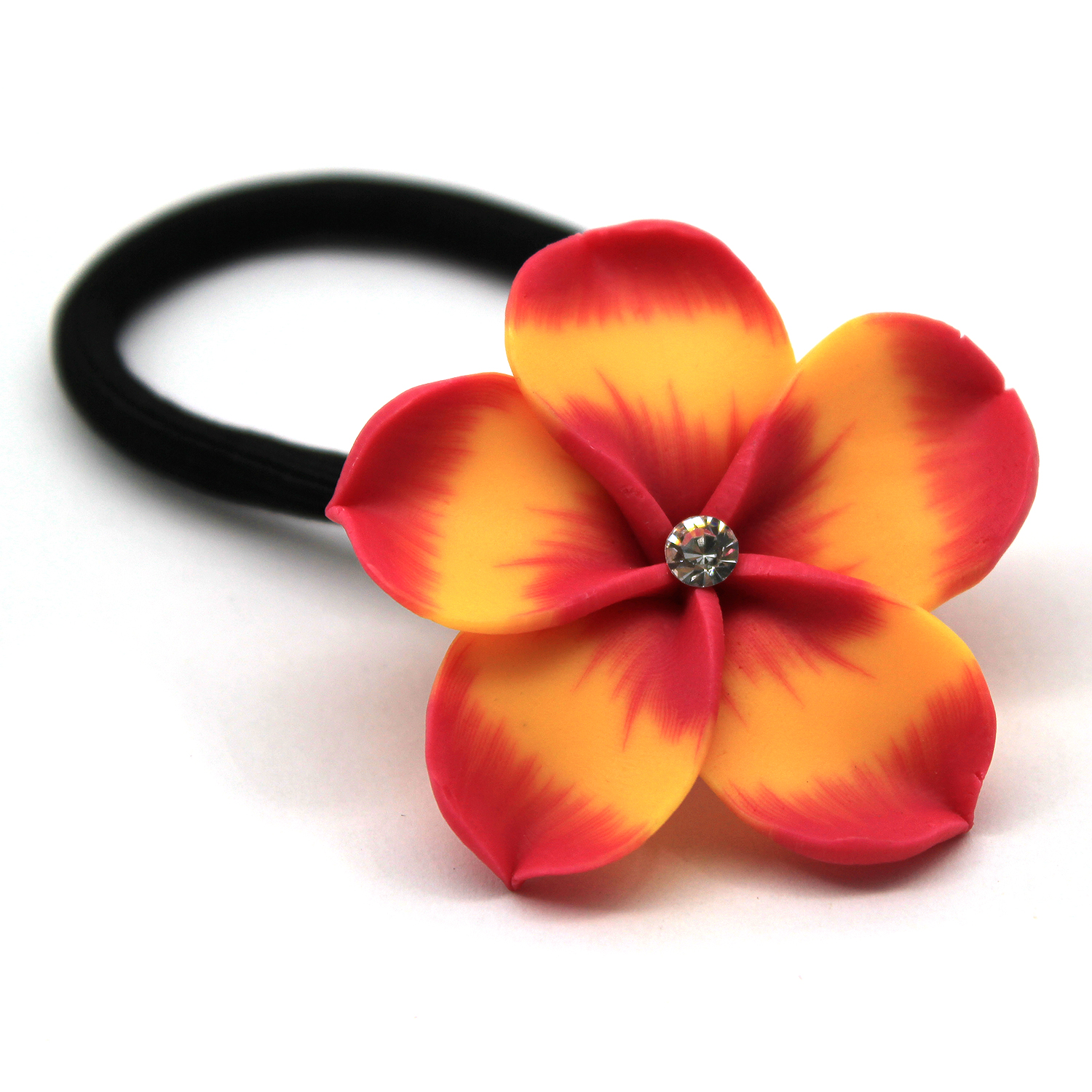 Hawaii Hangover Cute Plumeria FEMO Ponytail Elastic Hair Tie with CZ Yellow Orange 5 Pack