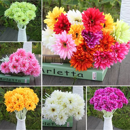 10PCS/Bouquet Artificial Colorful Flower Silk Gerbera Flowers Wedding Party Home Garden Office - Orange Silk Flowers