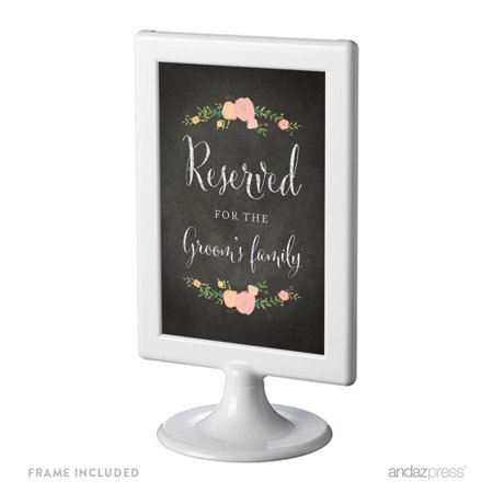 Reserved For The Groom's Family Framed Chalkboard & Floral Roses Wedding Party Signs