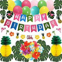 Hawaiian Flamingo Pineapple Decor Luau Party Supplies Birthday Decorations includes Birthday Banner, Artificial Tropical Palm Leaves, Hibiscus Flowers, Tissue Paper Pineapples, Party Balloons