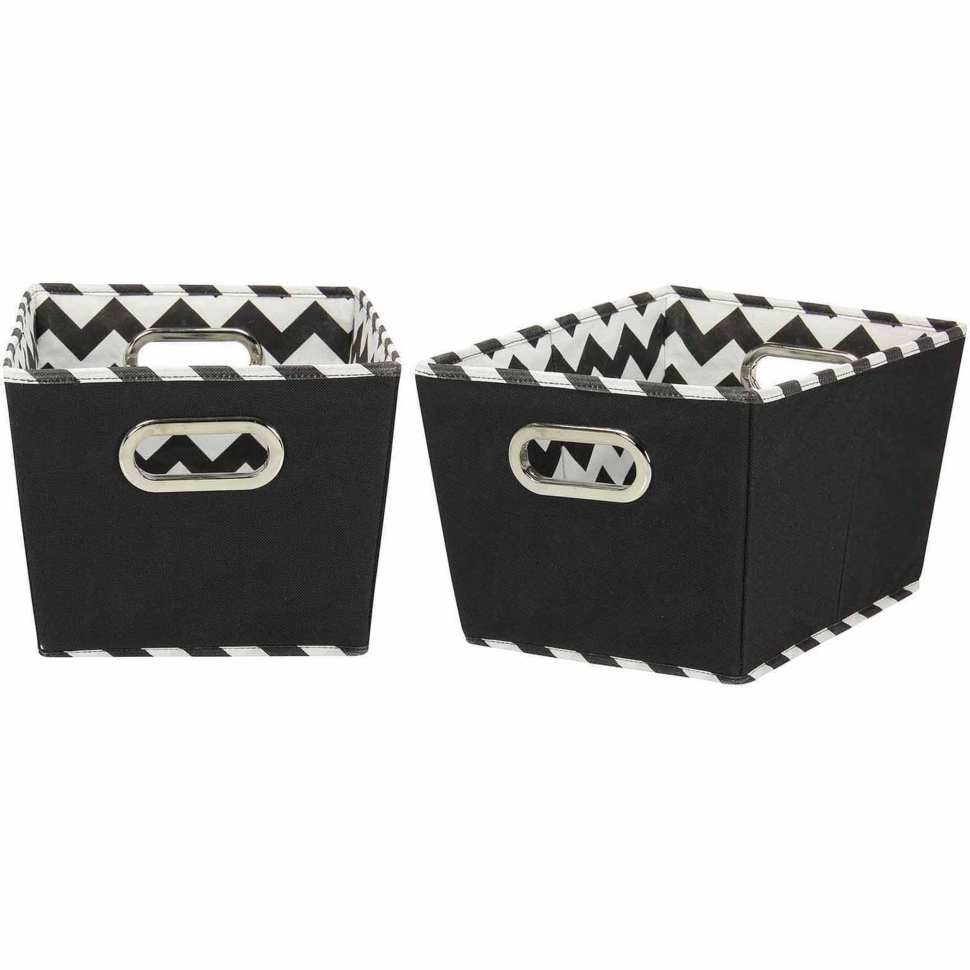 Household Essentials Small Decorative Storage Bins, 2pk, Black and Chevron