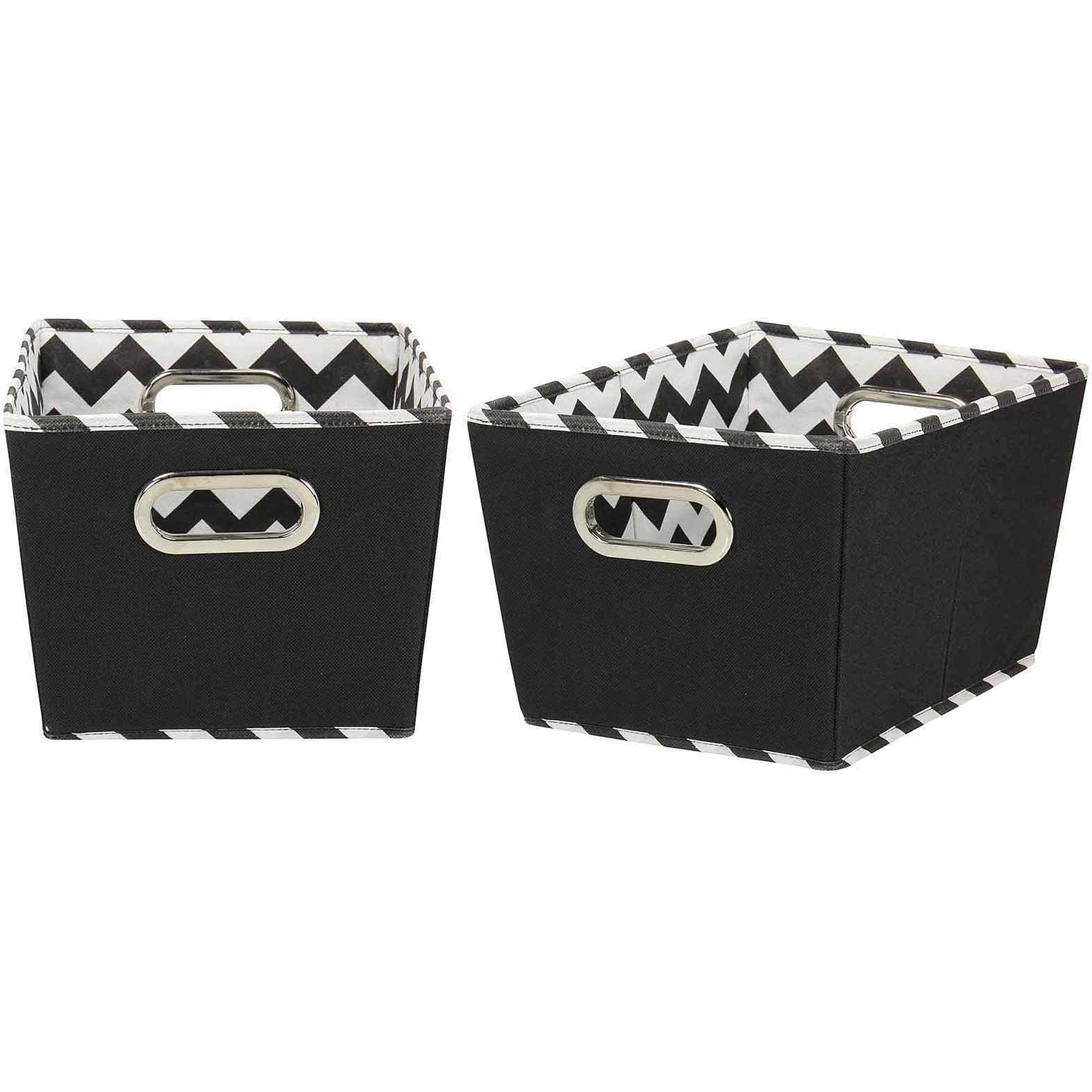 Household Essentials Small Decorative Storage Bins, 2pk, Black and Chevron