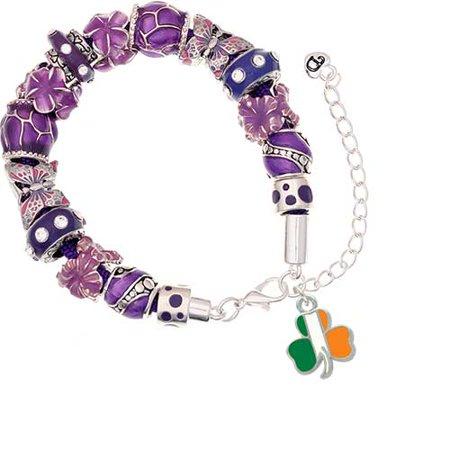 (Silvertone Irish Flag Shamrock Purple Butterfly Bead Bracelet)