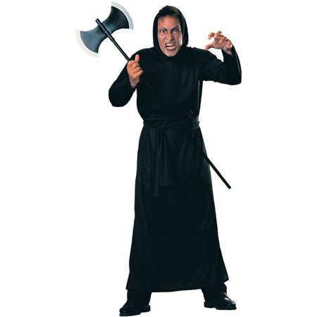 Haunted Mansion Costumes (Men's Black Haunted House Horror Hooded Robe Costume)