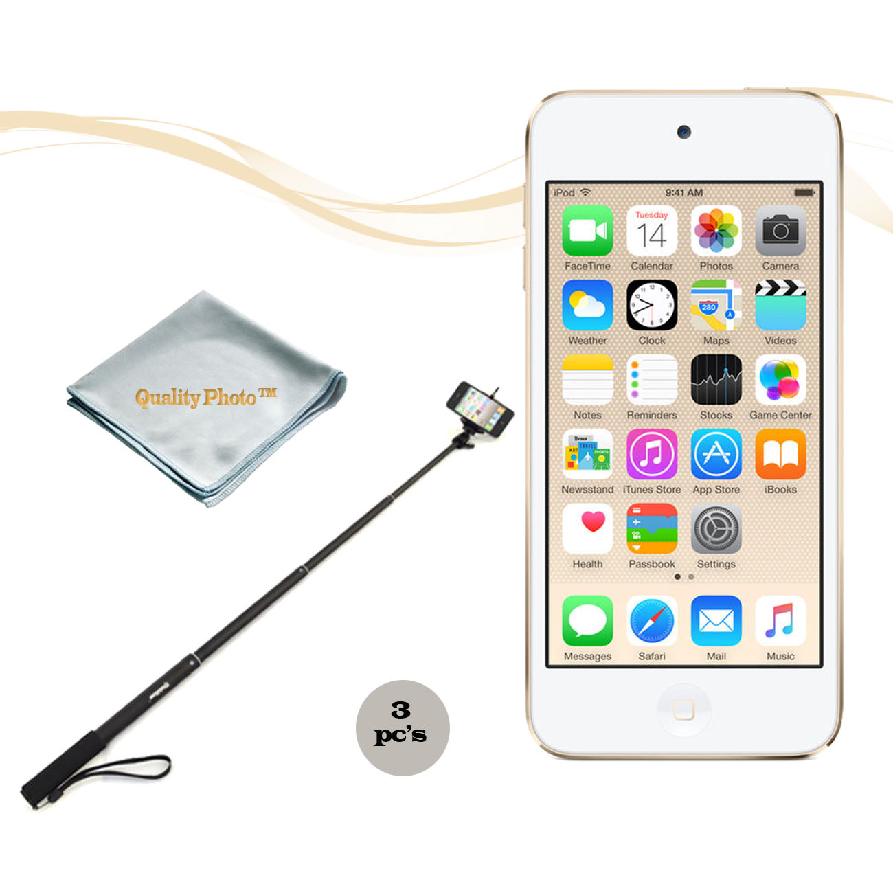 Apple Ipod Touch 16GB Gold (6th Generation) with a Istabilizer Istmp01 Monopod and Quality Photo Microfiber Cloth