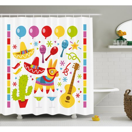Fiesta Shower Curtain Mexican Party Pattern Cactus Sombrero Musical Items And A Pinata Ethnic Inspirations Fabric Bathroom Set With Hooks Multicolor