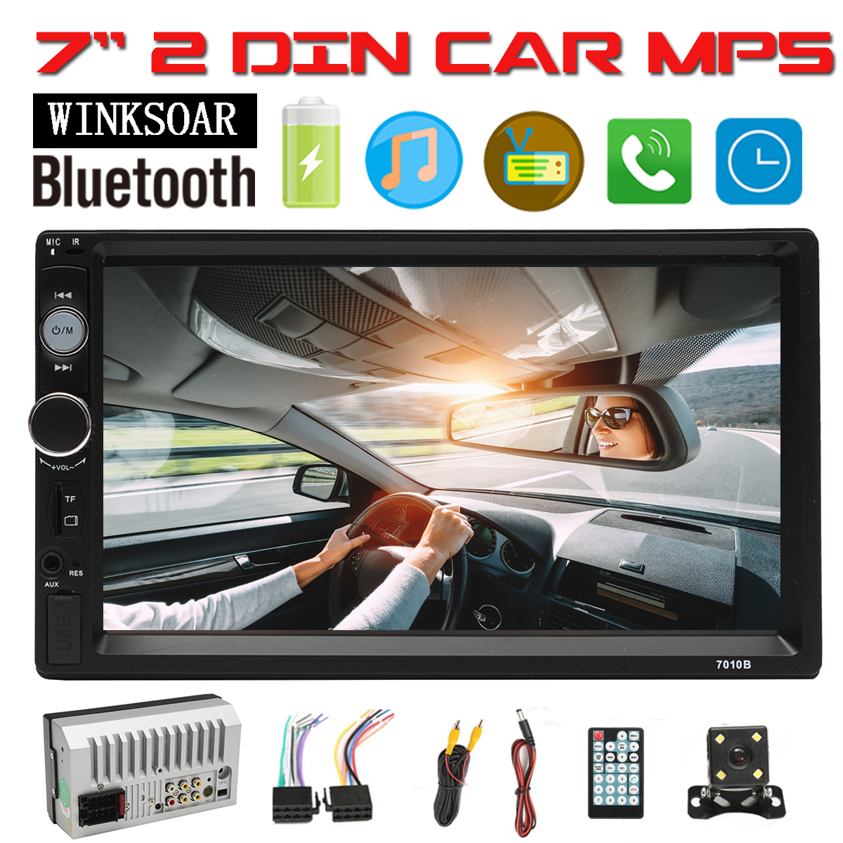 Dual Electronics 7 inch Multimedia Touch Screen Double Din Car Stereo with Built-In Bluetooth MP5 Player AUX/USB/SD Ports with Rear View Camera