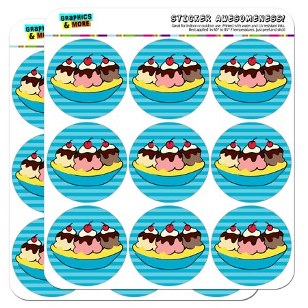 "Banana Split Ice Cream Dessert 2"" Scrapbooking Crafting Stickers"